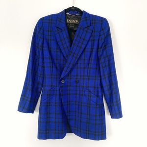 Vintage ESCADA Margaretha Ley Wool Plaid Blazer